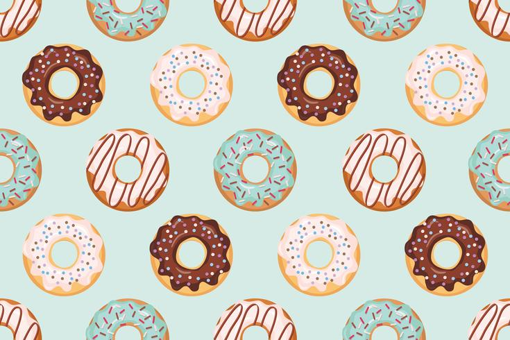 Seamless pattern with glazed donuts blue and beige colors vector