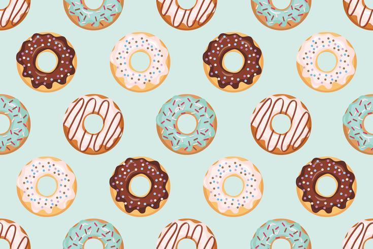 Seamless mönster med glaserade donuts blå och beige färger vektor