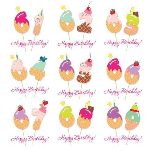 Birthday card set. Festive sweet numbers from 61 to 69 vector