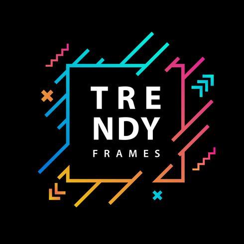 Neon fyrkantiga ramar med geometriska linjer