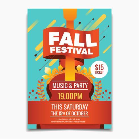 Modèle de flyer ou affiche du festival d'automne. Feuilles d'érable d'automne et fond de guitare