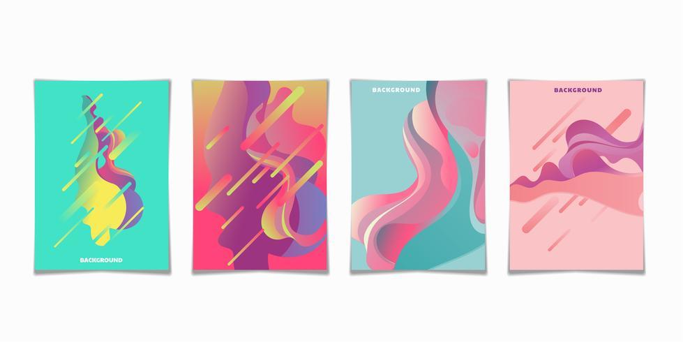 Conjunto de carteles modernos de flujo líquido de onda colorida vector