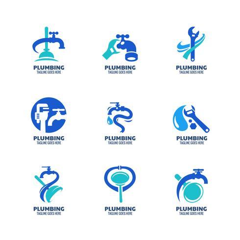 Plantilla de logotipo de plomería moderna vector