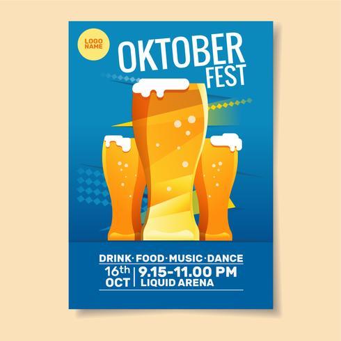 Plantilla de póster de fiesta Oktoberfest vector