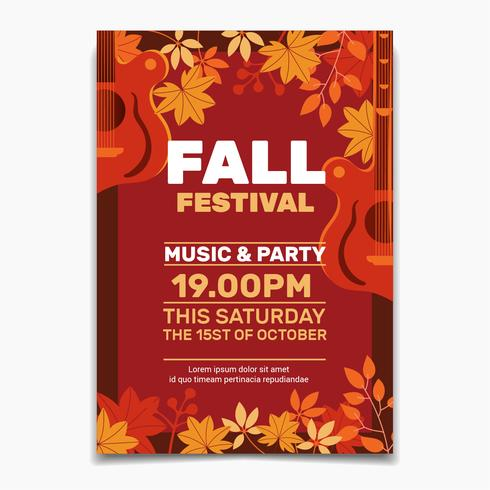 Fall Festival flyer or poster template. Design for Invitation or Autumn Holiday Celebration Poster vector