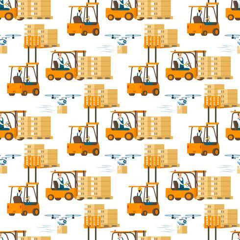Gabelstapler-Auto voll des Kasten-Musters vektor
