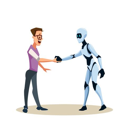 Jovem, sorrindo, homem, em, óculos, e, robô, apertar mão
