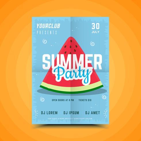 Cartel de fiesta de sandía de verano