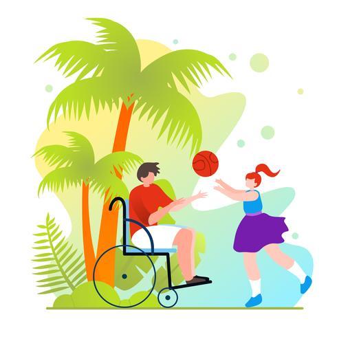 Básquetbol en silla de ruedas vector
