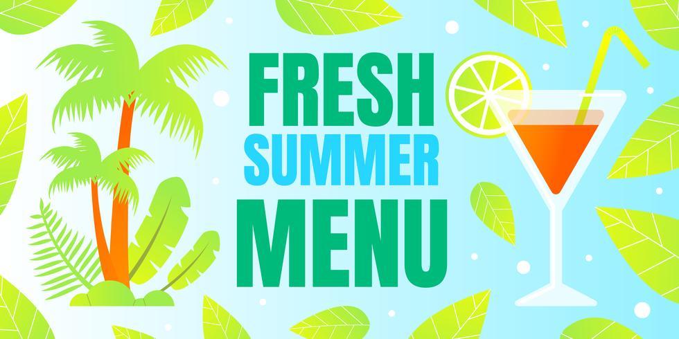 Banner de menu de verão fresco vetor