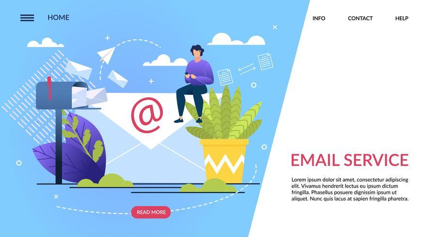 Banner del servizio di posta elettronica scritto vettore