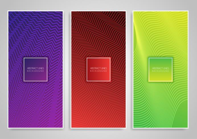 Colección de pancartas con diseños en zig zag