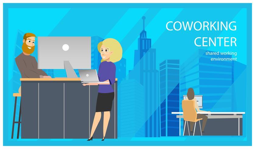 Coworking Receptie Man uitnodigende vrouw Banner