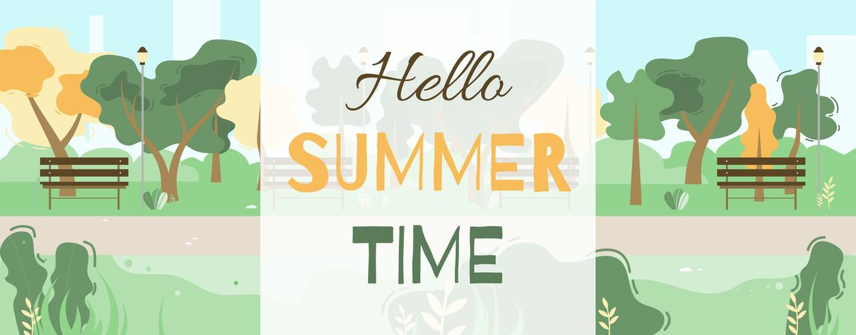 Hola banner de saludo de horario de verano