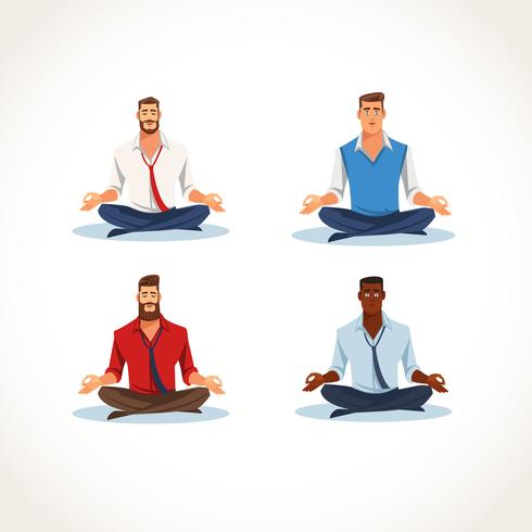 Set of Meditating Business Men