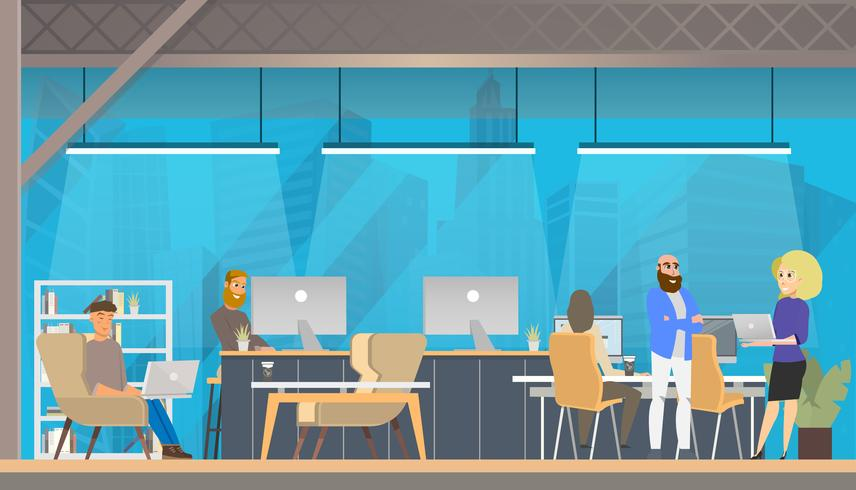 Study in Modern Coworking Area vector