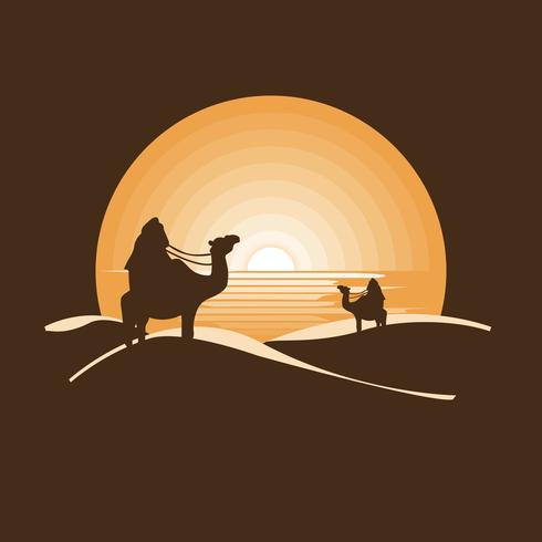 Beduíno no deserto seco sob o sol