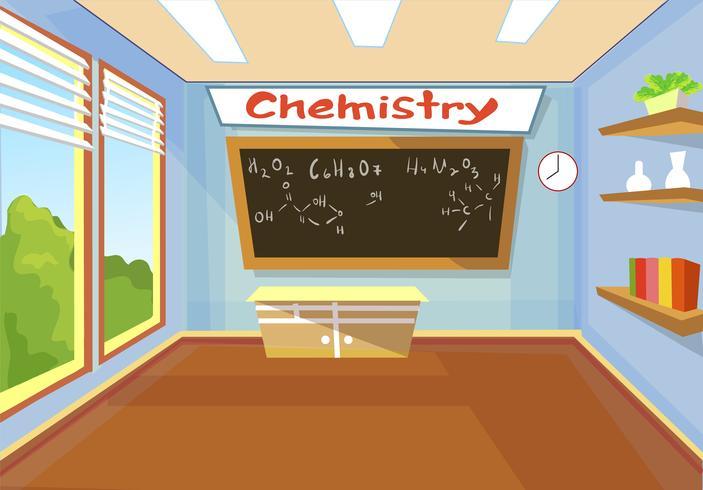 Escuela de clase de química. vector
