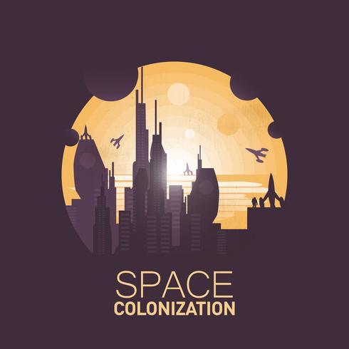 Grote ruimtekoloniebasis in de woestijn