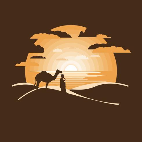 Beduino nel deserto secco vettore