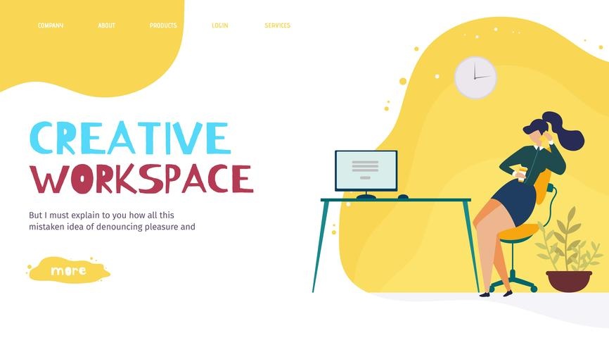 Creative Office Workplace Landing Page
