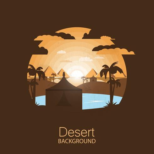 landschaps woestijn .ouwein tent met palmen in de buurt van oasis. negatieve ruimte illustratie