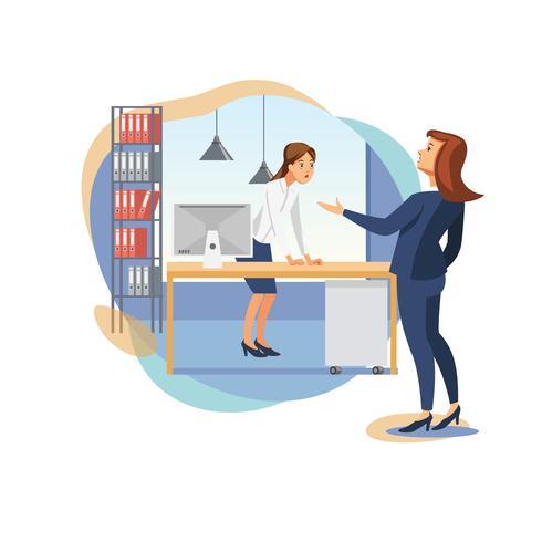 Kvinnlig chef som skäller kontorsarbetare