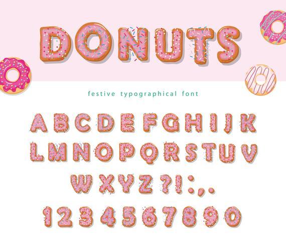 Donuts mão desenhada fonte decorativa dos desenhos animados doces letras e números