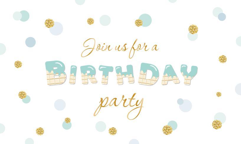 Convite para festa de aniversário em fundo festivo de bolinhas com glitter