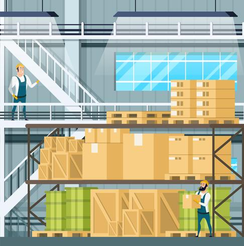 Intérieur de l'entrepôt avec fret vecteur
