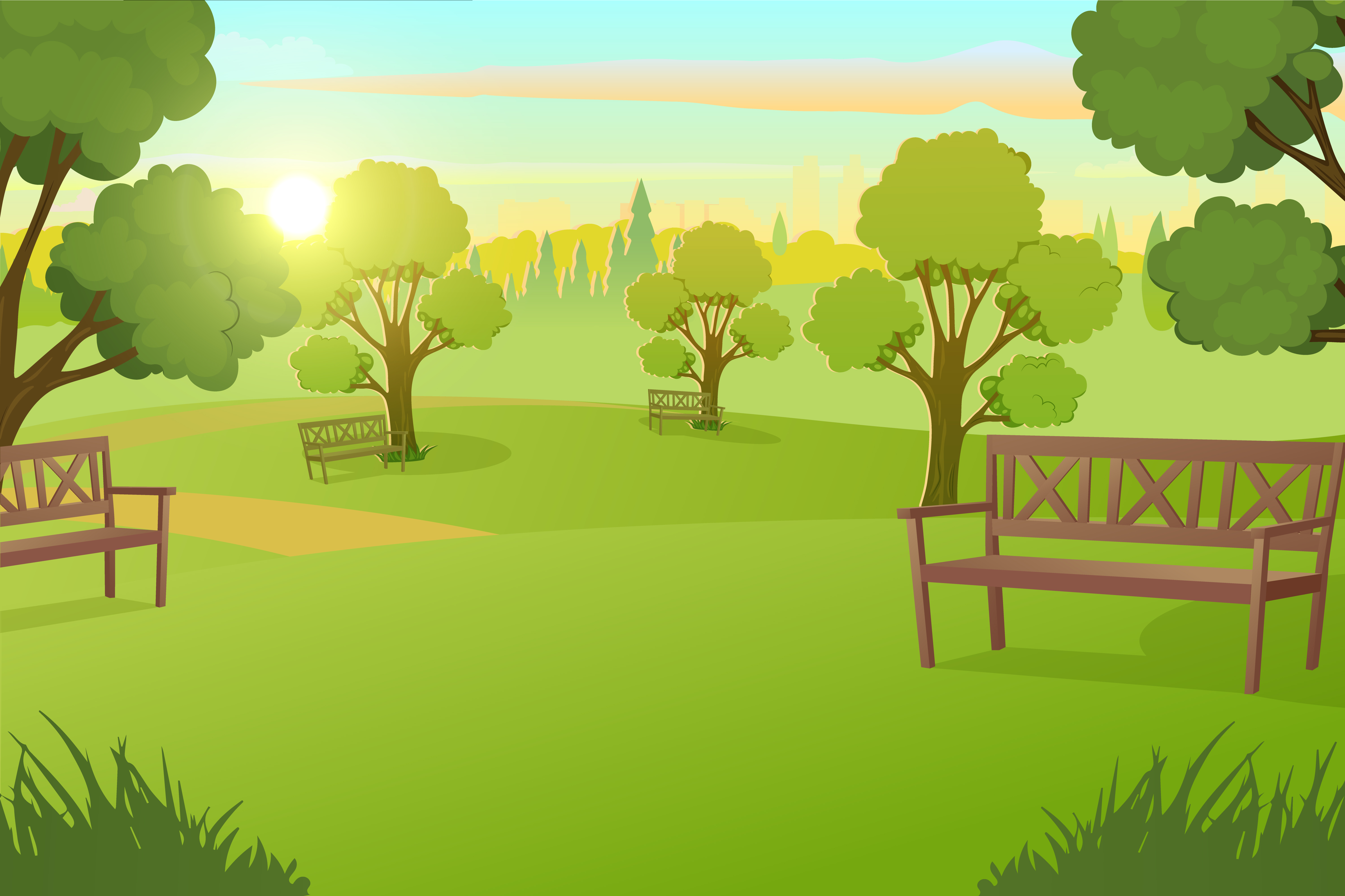 City Park Or Square With Trees On Meadow Download Free