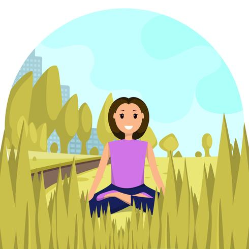 Feliz Mujer Sentada Posición Loto Parque Ciudad