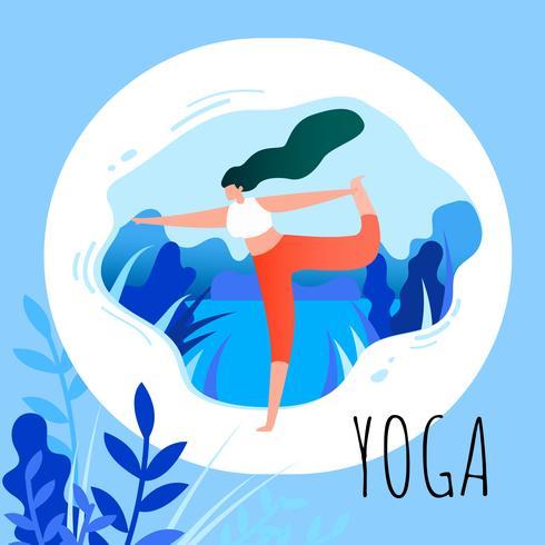 Woman in Asana Position Yoga Exercise vector