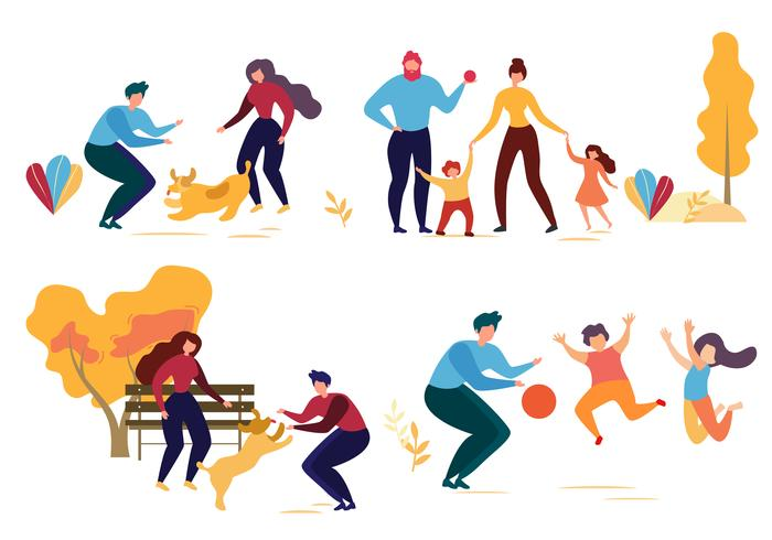 Família cão, em, parque