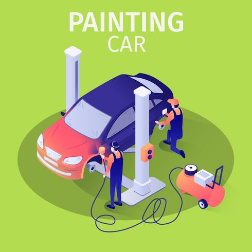 Painting Car with Spraying Gun in Auto service