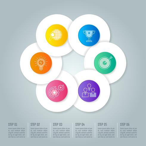 Conceito de negócio círculo infográfico design com 6 opções, partes ou processos.