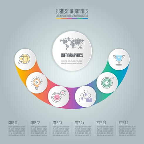 Curve infographic design business concept with 6 options, parts or processes.