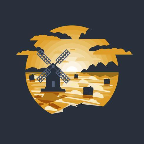 Paisaje rural con ilustración de molino de viento.
