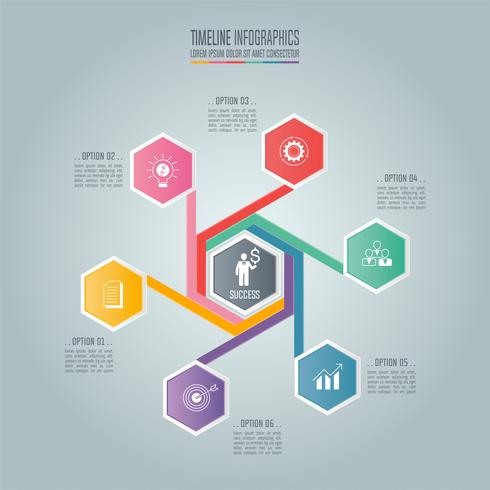 Hexagonal twisted Infographic business concept with 6 options.