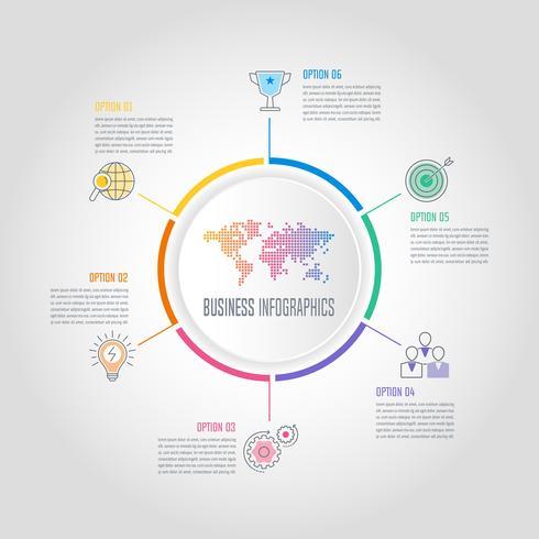 Conceito de negócio opção design infográfico com 6 opções, partes ou processos.