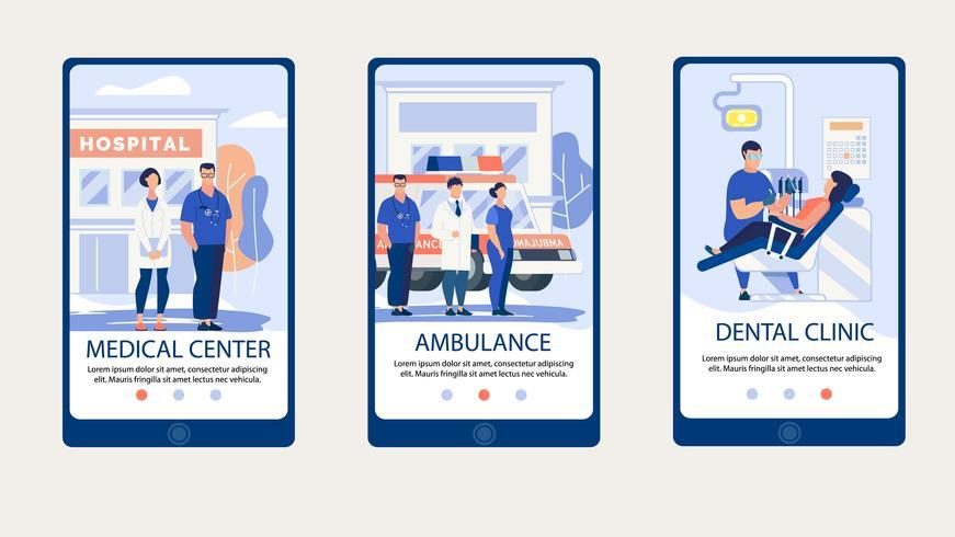 Página web del centro médico en el conjunto de teléfonos inteligentes vector