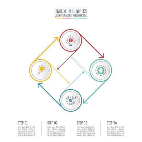 Connected circle infographic design business concept with 4 options. vector