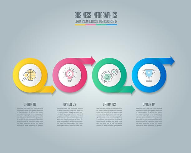 Concepto de negocio de diseño de infografía de flecha de círculo con 4 opciones