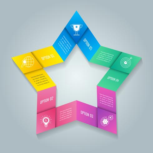 Star infographic design business concept with 5 options, parts or processes.