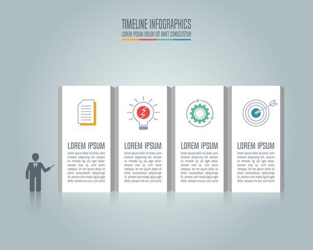 Presentación del concepto de negocio de infografía con 4 opciones. vector