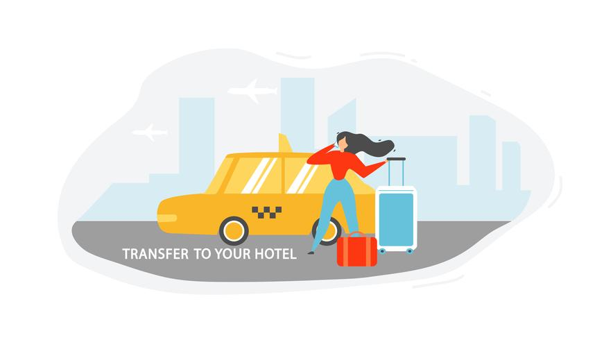 Transferring to Hotel with Taxi vector