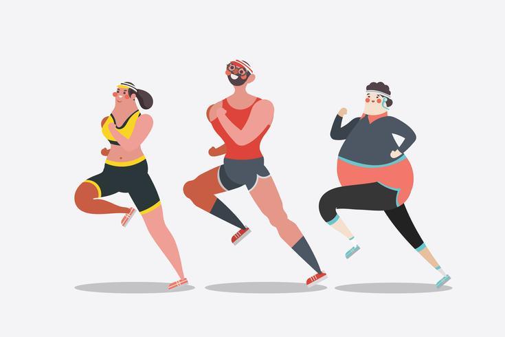 People running a marathon vector