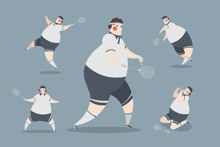 projeto de caráter dos homens do badminton vetor