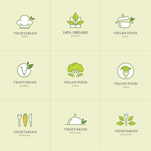 Vegetarisk mat ikoner set
