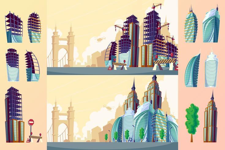 Ensemble d'un paysage urbain avec de grands bâtiments modernes.